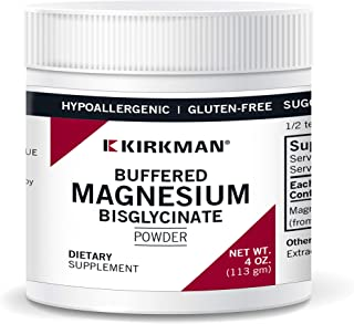 Kirkman Buffered Magnesium Bisglycinate Powder - Bio-Max Series || 113 gm/ 4 oz Powder || Free of Common allergens || Prom...