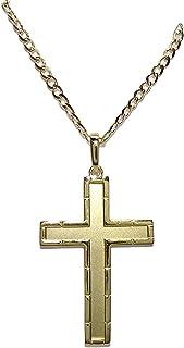 Never Say Never - Croce in oro giallo massiccio 18 k, opaca e lucida, con catena Bilbao massiccia da 50 cm, per uomo, 6,20...