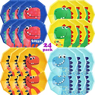 Partybus Dinosaur Party Plates Serves 24, 9'' Decagon Disposable Paper Plates, Cute Dino Dragon Party Supplies for Kids Boys Girls Toddlers, Birthday Baby Shower Decorations
