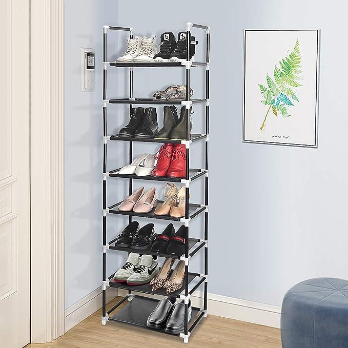 ERONE Shoe Rack Organizer 8 Tiers, Stackable and Durable Shoe Shelf Storage 16 pairs Metal Shoe Tower Space Saving 18