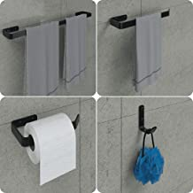 Kit Acessórios Para Banheiro Preto Fosco 4 Peças, MetalCromo