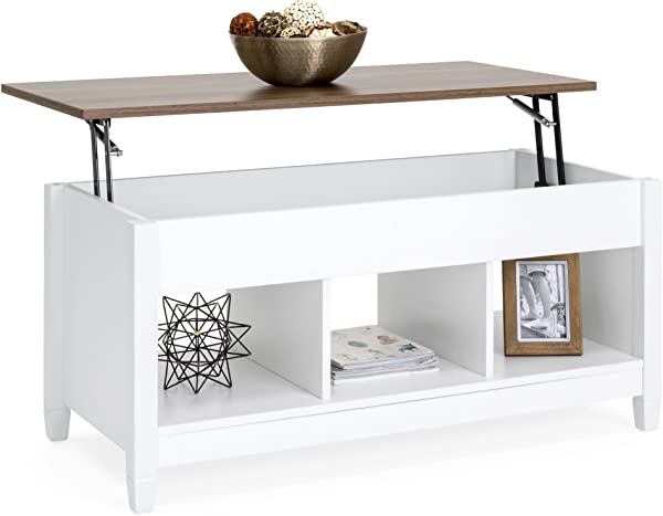 Best Choice Products Wooden Modern Multifunctional Coffee Dining Table For Living Room D Cor Display W Hidden Storage And Lift Tabletop White