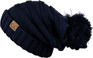 Hatsandscarf CC Exclusives Unisex Oversized Slouchy Beanie with Pom (Navy)