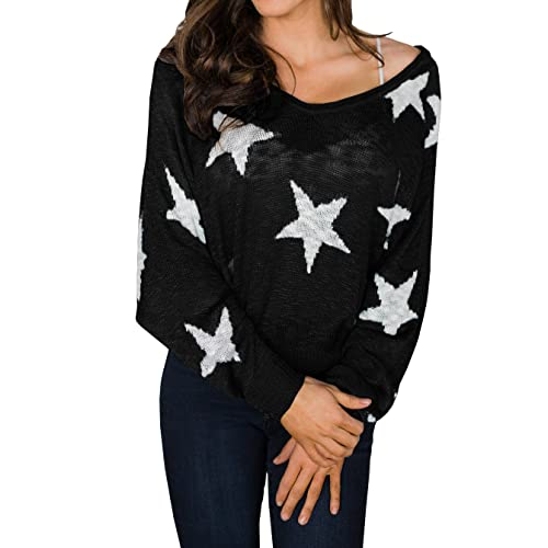 35fa54204d874 Gobought Womens Oversized Off Shoulder Knit Pullover Sweater Batwing Sleeve  Star Print Jumper