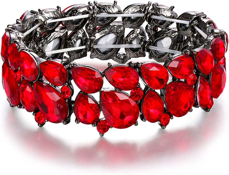 EVER FAITH Women's Wedding Party Jewelry Austrian Crystal 2 Layer Teardrop Stretch Bracelet for Her