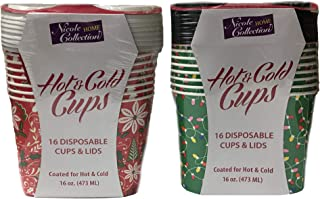 Christmas Paper Coffee Cups with Lids Disposable Hot & Cold Drinkware 2-Pack Variety 16 ct each
