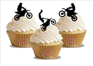 12 x MotoCross Silhouette Trio Mix - Fun Novelty Birthday PREMIUM STAND UP Edible Wafer Card Cake Toppers Decoration