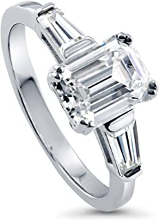 Rhodium Plated Sterling Silver Emerald Cut Cubic Zirconia CZ 3-Stone Anniversary Engagement Ring 2.41 CTW