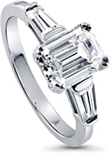 BERRICLE Rhodium Plated Sterling Silver Emerald Cut Cubic Zirconia CZ 3-Stone Anniversary Engagement Ring 2.41 CTW