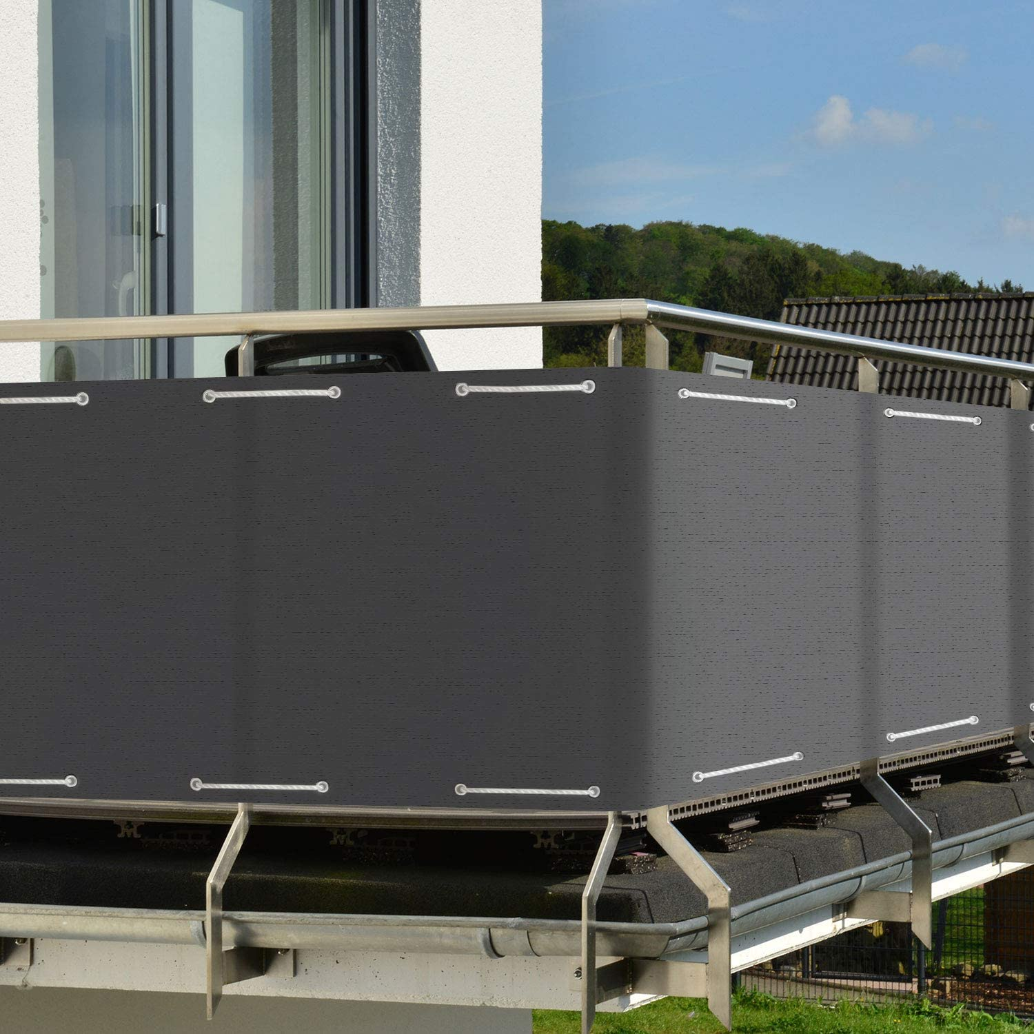Sol Royal Balcony Privacy Screen 90x300 cm SolVision HB2 Sun Wind UV Protection Anthracite Screening with Eyelets /& Cord