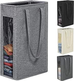 Chrislley 66L Slim Laundry Hamper Tall Laundry Basket Narrow Laundry Hamper Visual Window Small Laundry Hamper Large Baskets for Laundry(Upgrade-Grey)