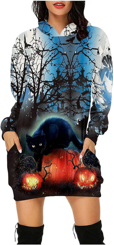 QWENTMTNTY Womens Halloween Long Sleeve Tshirt Dress Pockets Oversized Fashion Graphic Print Casual Pullover Hoodie Dresses