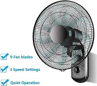 LYBC ø43.5cm 3 Velocidades Ventilador oscilante de Pared-Negro,90° oscilación,Movimiento circulador de Aire,Botón de Giro,220V/60W