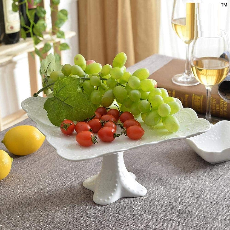 Dwthh 1pcs Blanc gaufrer Assiettes à Fruits en céramique Plaque de gateau Plats de Bonbons Plat de Bonbons Porcelaine Plateau Plateau de Vaisselle décoration
