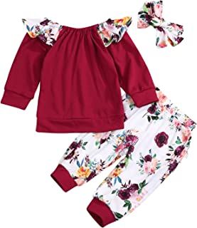 SEVEN YOUNG Kids Newborn Toddler Baby Girls Fall Outfits Ruffle Long Sleeve T-Shirt+Floral Print Pants 3Pc Winter Clothes Set