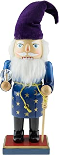 Clever Creations Wizard Nutcracker | Wizard Nutcracker Wearing a Blue Robe Wrapped in a Gold Belt | Accessorized with a Gold Cane, Purple Hat and Clear Crystal | Stands at 10