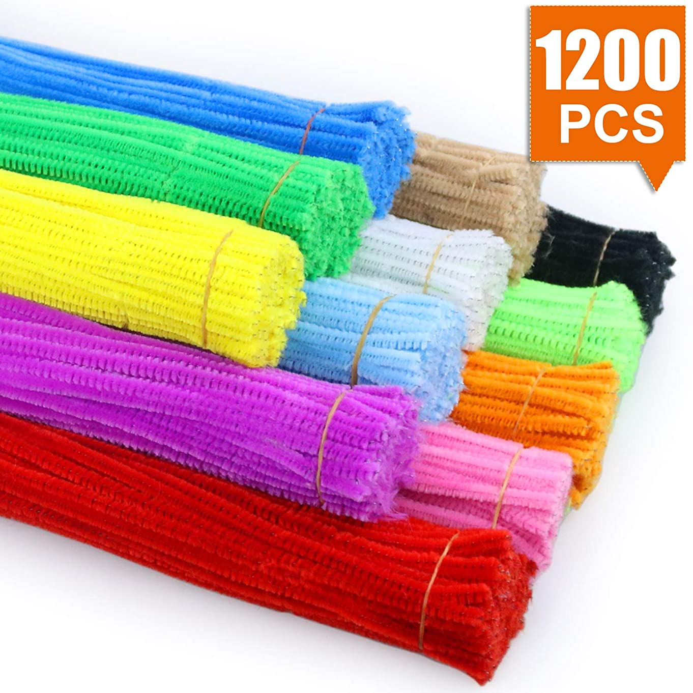 NEOACT Chenille Stems/Pipe Cleaners 1200-Piece, 12 Vibrant Colors, 12 Inch x 6mm