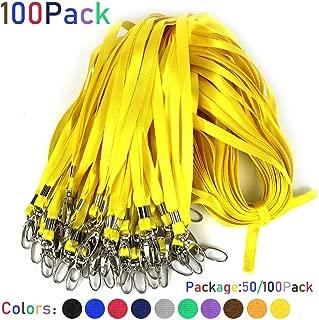 Yellow Lanyards 100Pcs Nylon Bulk Lanyard for Id Badges,Badge Lanyards Swivel Hooks Clips Great for Name Tags Badge (100PCS, Yellow)