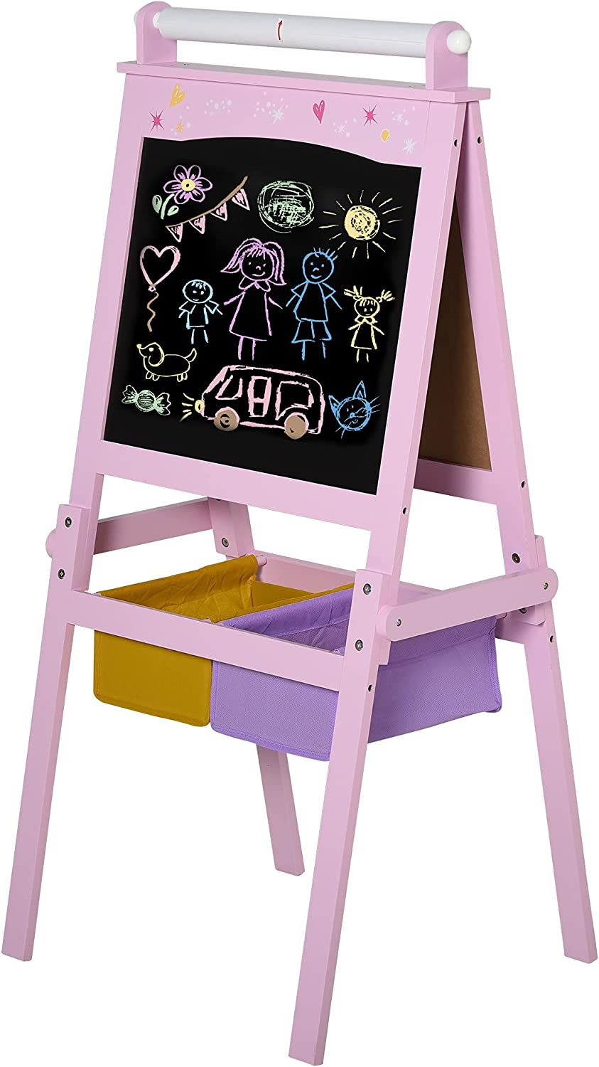 Qaba 3 in 1 Kids Wooden Art Easel with Paper Roll Double-Sided C