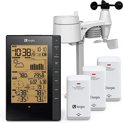 high quality Logia 5-in-1 Indoor/Outdoor Weather Station + 3 lowest Pack Indoor Hygro-Thermo Sensors lowest | Remote Monitoring System w/PC Connect | Temperature, Humidity, Wind Speed/Direction, Rain & More online sale