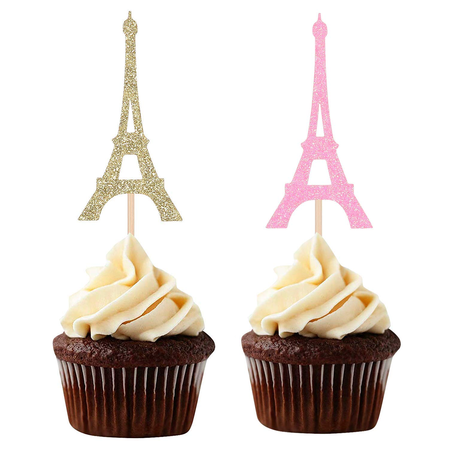 Amazon Com Paris Theme Cupcake Toppers Eiffel Tower Shape Party Picks Wedding Bridal Shower Decorations Pink And Gold Grocery Gourmet Food