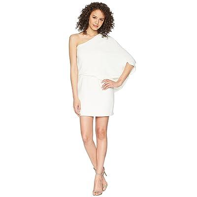 Halston Heritage One Shoulder Asymmetrical Sleeve Dress (Chalk) Women