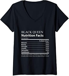 Womens Black Queen nutrition facts funny V-Neck T-Shirt