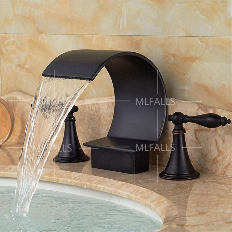 Hlluya Professional Sink Mixer Tap Kitchen Faucet The black desktop waterfall hot and cold mixing valve basin mixer   bathroom sink basin mixer