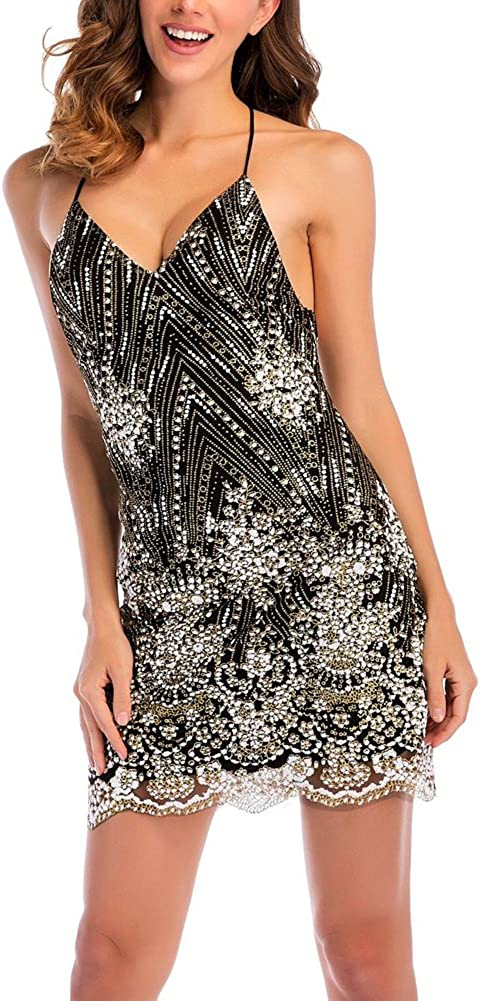 BeneGreat Women's Sexy Strap V Neck Floral Sequined Backless Night Club Party Dress