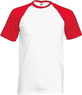 Fruit Of The Loom Mens Short Sleeve Baseball T-Shirt (UK Size: S) (White/Red)