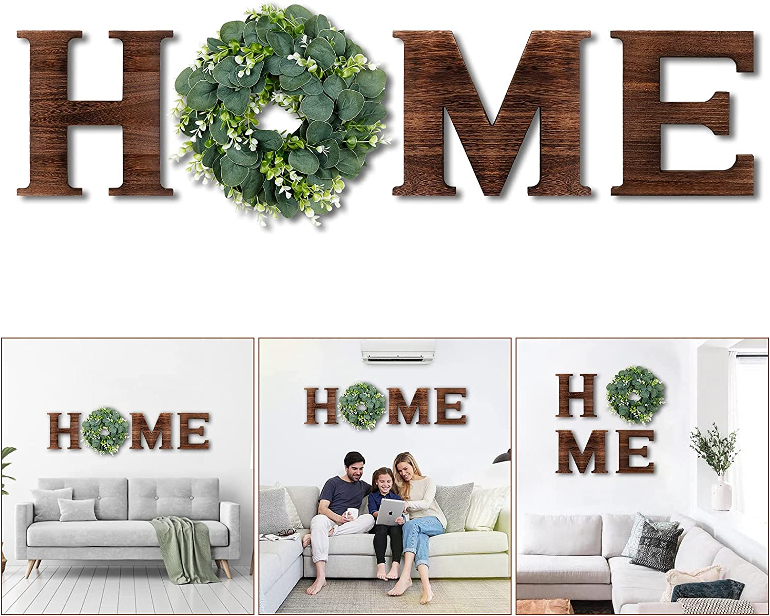 AerWo Rustic Home Sign with Artificial Eucalyptus Wreath, Wood Letters for Wall Decor, Wall Letters Decor for Living Room, Entry Way, Bedroom, Farmhouse Kitchen, Home Decor, Housewarming Gift(Brown)