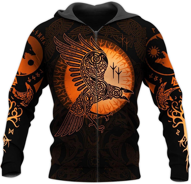 Viking Hoodies,Tattoo 3D All Over Printed Unisex Deluxe Hoodie Men Sweatshirt Zip Pullover Casual Jacket Tracksuit