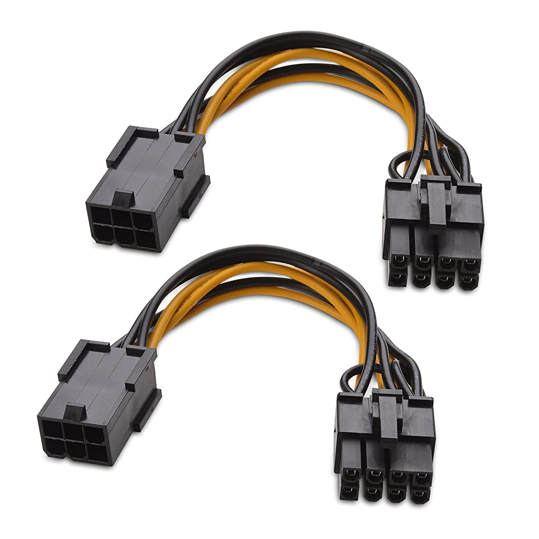 Cable Matters (2-Pack) 6-Pin PCIe to 8-Pin PCIe Adapter Power Cable - 4 Inches