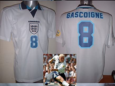 56103abb7e3 England Euro 1996 Paul Gascoigne Gazza Retro Shirt Jersey BNWT Adult Large  Football Cotton Trikot Lazio