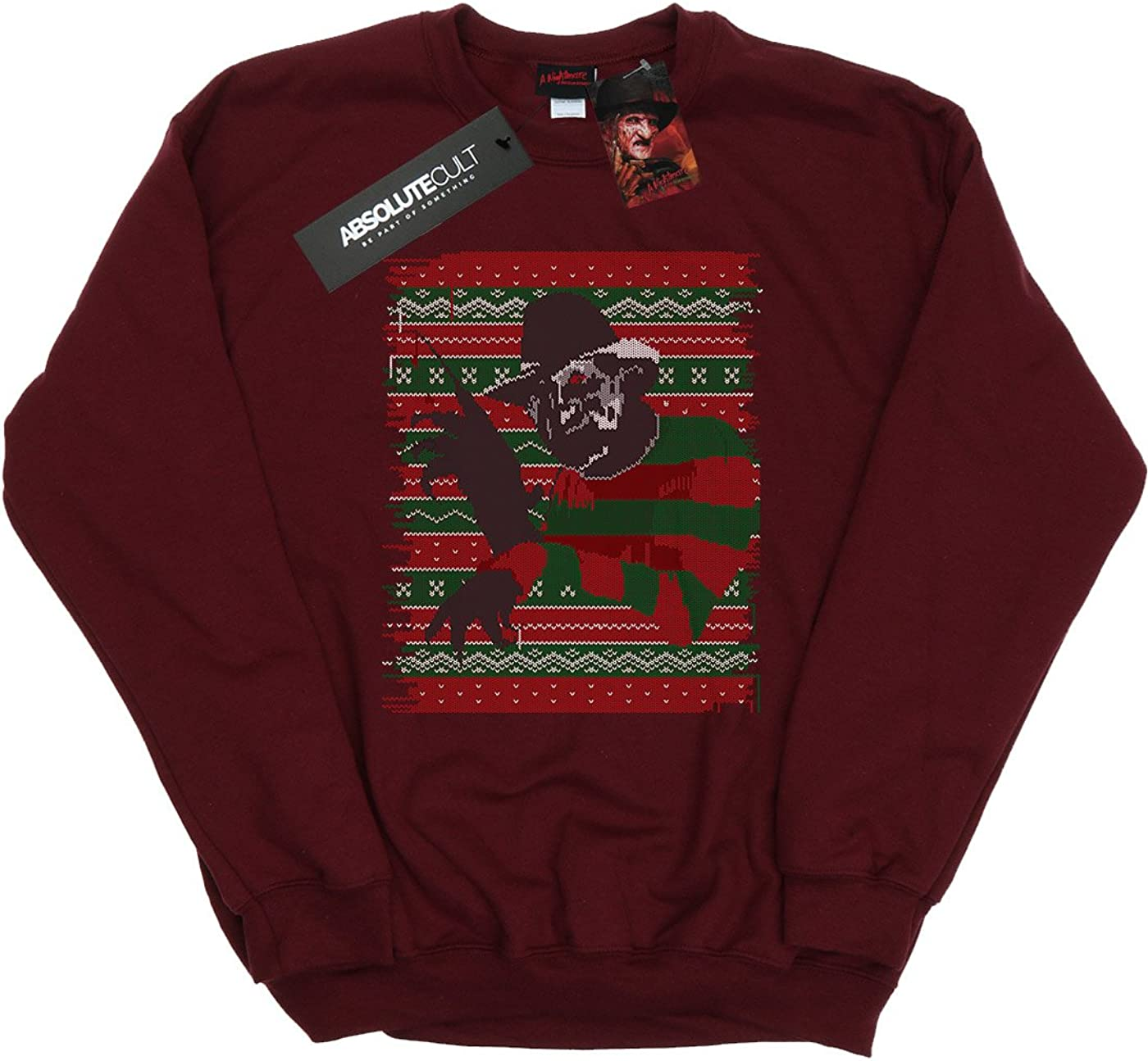 Nightmare On Elm Street Homme Christmas Fair Isle Sweat-Shirt Bourgogne