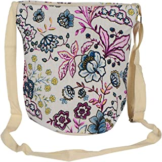 PRERO Women's Cotton Flower Waterproof Sling Bag (Pink)