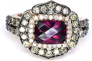 LeVian Rhodolite Garnet Chocolate White Diamonds Ring 2.40 cttw 14k Rose Gold NEW