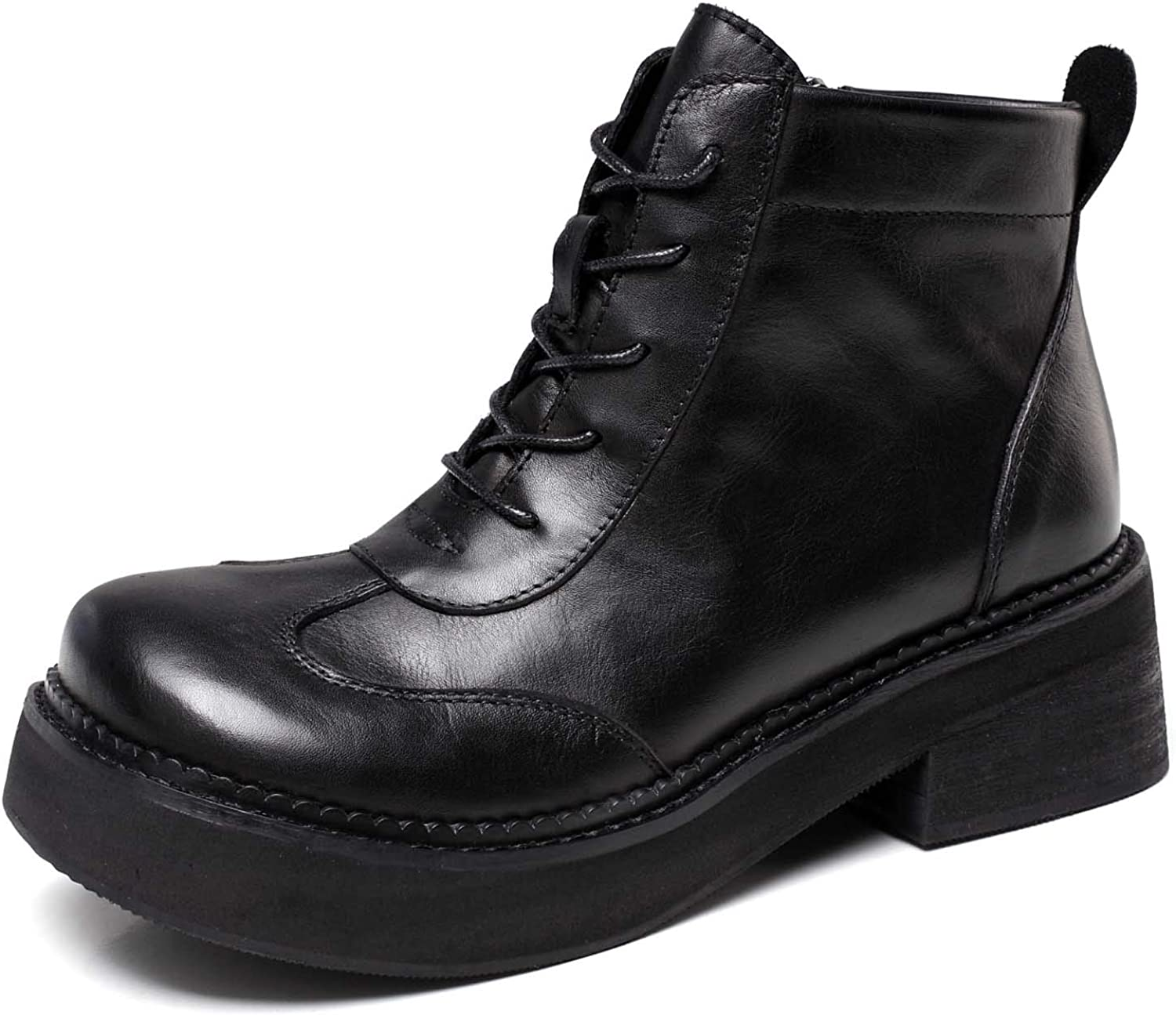 Women's Leather Ankle Boots with Low Heel Casual Boots Black with Retro shoes