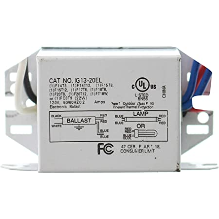 InterGlobal IG13-20EL Magnetic Fluorescent Ballast, 1-Lamp, T8 F20T8, 20W, 120V