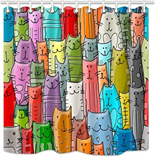 NYMB Cartoon Cat Lover Shower Curtain, Funny Animals Kitten Decor for Kids Shower Curtain,Waterproof Fabric Bathroom Decorations, Bath Curtains 12PCS Hooks, 69X70 inches