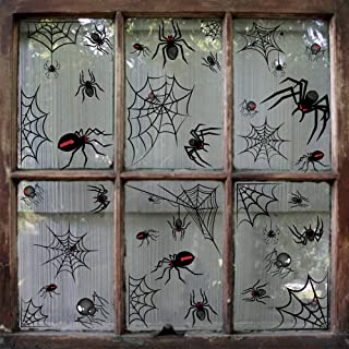 68pcs Halloween Spiders and Webs Vinyl Window Clings Decorations - Black Spiders Web Party Stickers Ornaments