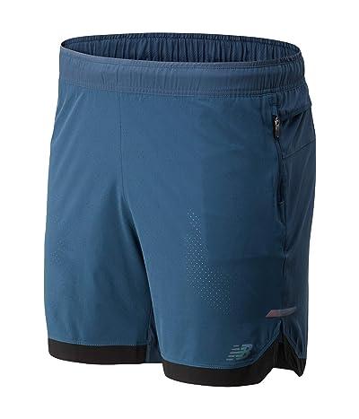 New Balance Q Speed Run Crew Shorts (Stone Blue) Men