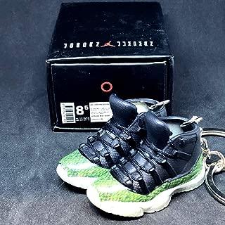 Pair Air Jordan XI 11 Retro High Snakeskin Green OG Sneakers Shoes 3D Keychain 1:6 Figure + Shoe Box