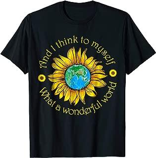 What A Wonderful World Funny Sunflower Hippie T-shirt