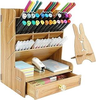 Pencil Holder for Desk, Easy Assembly Desk Organization and Storage for Home Office Stationary Desktop Supplies Organizer, School Supply Storage, Desk Pencil Organizer, Teak