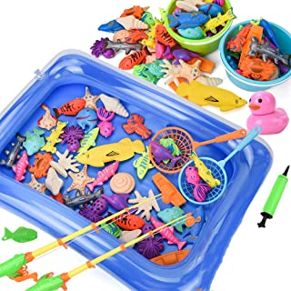 Mumoo Bear Kids Fishing Game Magnetic 3D Model Fish Playsets for Kids, 50 Pcs with Pool and Inflator, Assorted