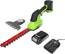 Greenworks Tools 24 V Battery-powered Shear Shrubber G24SHT, 15 cm Cordless Grass Shear / 20 cm Shrubbery Trimmer 2-in-1 w...