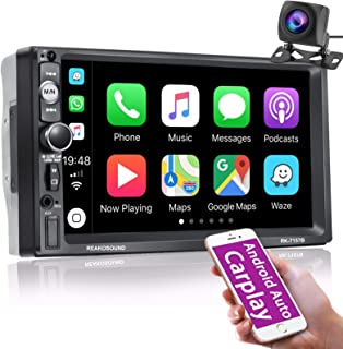 $88 » Nhopeew Double Din Car Stereo Support Apple Carplay, 7 inch Bluetooth Touchscreen Car Radio with HD Backup Camera