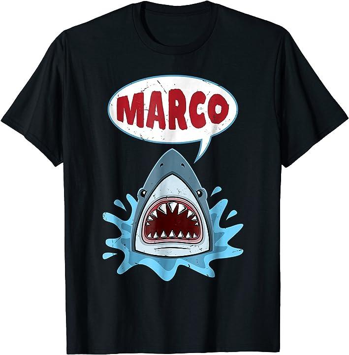 funny shark playing marco polo t shirt art tshirt design. Black Bedroom Furniture Sets. Home Design Ideas