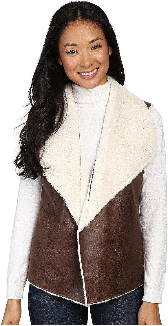 Dylan by True Grit Women's 70's Shearling Bowie Reversible Vest
